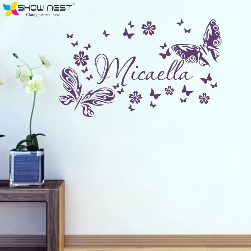 Personalized Custom Kids Name Butterflies Flower Wall Stickers