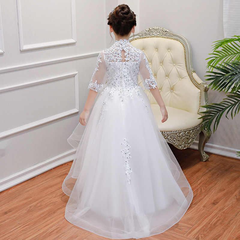 בנות להשתתף באירועים הראשון לבן שמלת 2019 חדש לבן חתונה שמלת ילדה נסיכת יום הולדת המפלגה vestidos דה פיאסטה