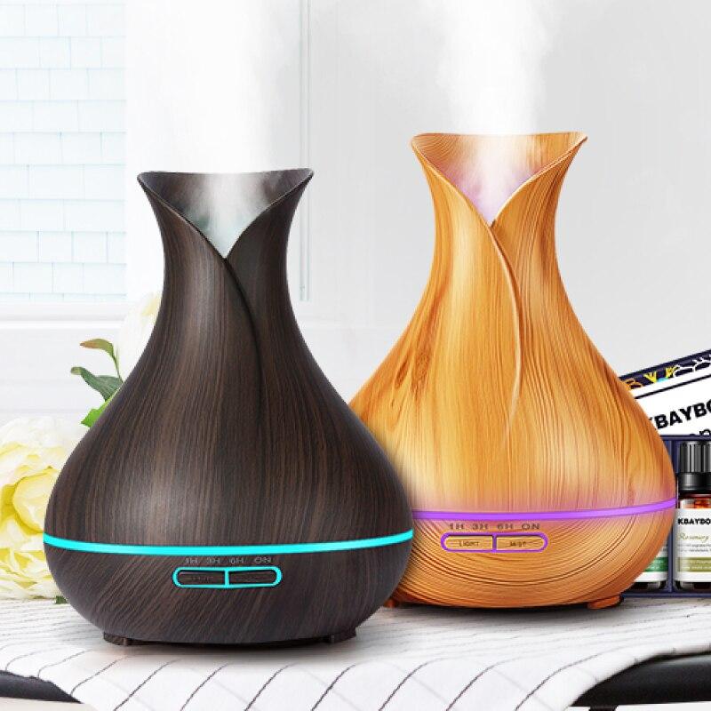 400 ml Humidificateur D'air Huile Essentielle Diffuseur bois grain Aromathérapie diffuseurs Aroma purificateur MistMaker led lumière pour La Maison Bureau