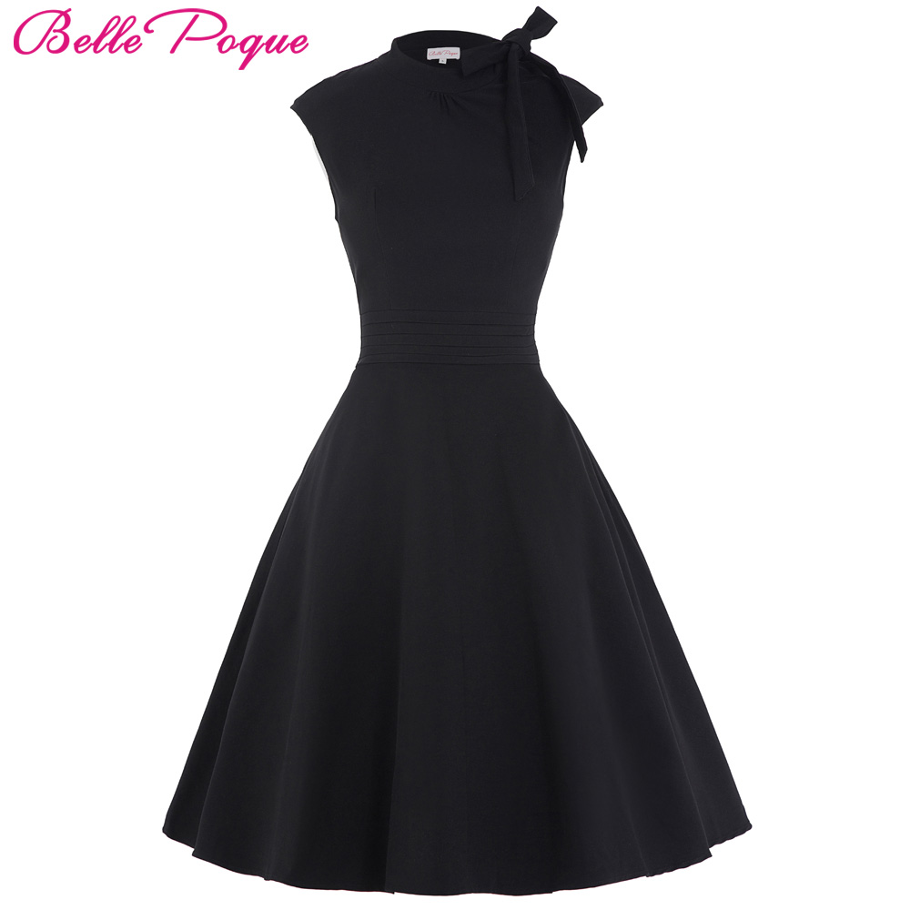 Summer Casual 50s Dress Women Black Cap Sleeve Bow-Knot Decorated Party Gowns Audrey Hepburn Style Vintage Rockabilly Dress 2018