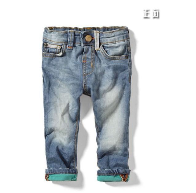 Nova chegada calças de brim Do Bebê Meninos Meninas flanging calças Lápis denim calças roupas de Marca Por Atacado