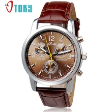 OTOKY Wristwatches Male Brown Faux Leather quartz watches Wrist Watch for men Gift 1pc