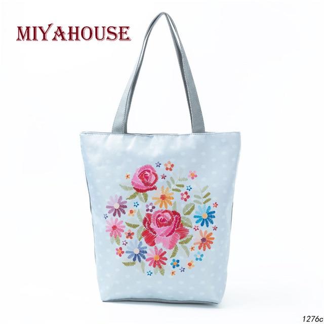 6442fb4aed Miyahouse Colorful Floral Printed Tote Handbag Women Canvas Summer Beach Bag  Lady Dot Design Single Shoulder