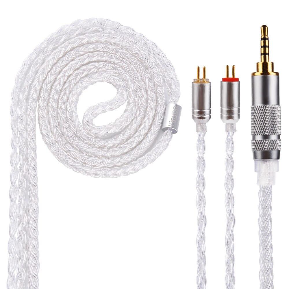Yinyoo 16 Core Argent Plaqué Câble 2.5/3.5/4.4mm Câble Équilibré Avec MMCX/2pin Connecteur Pour LZ A5 HQ5 HQ6 KZ ZS10 AS10 SE846