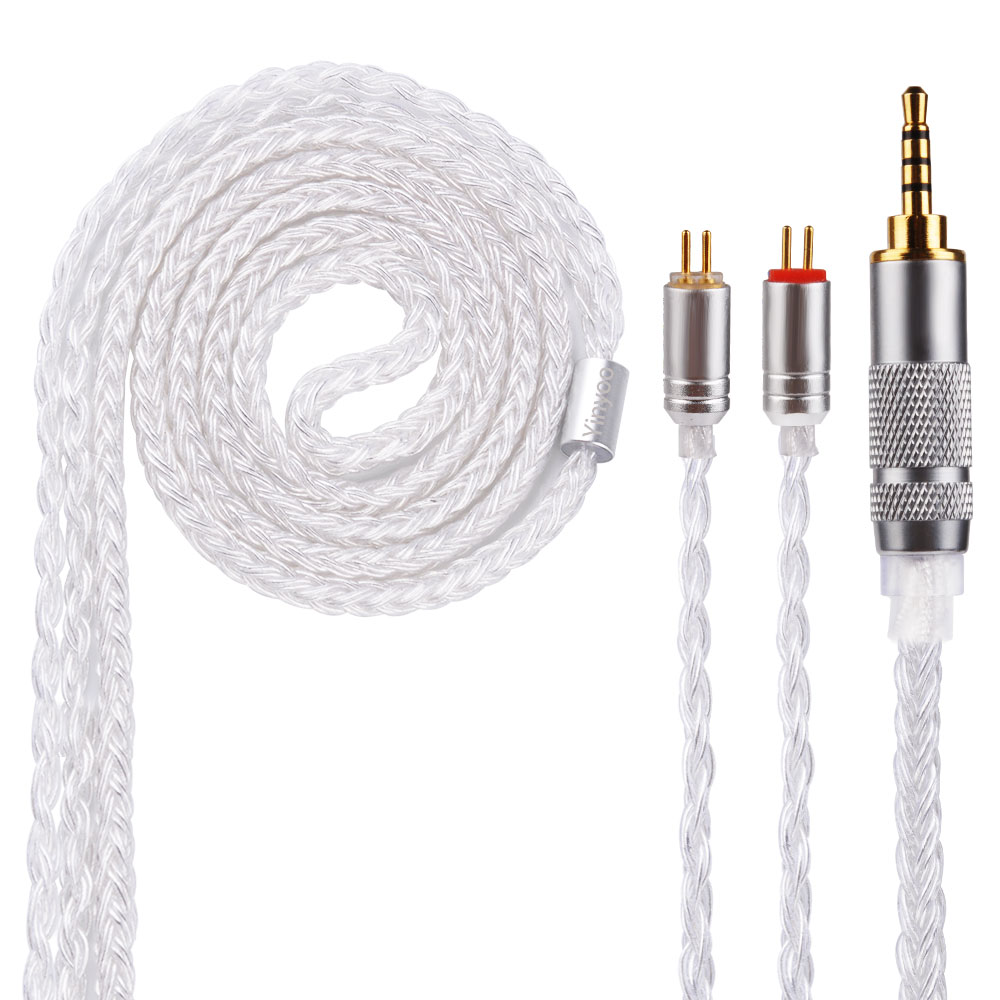 Yinyoo 16 Core Silver Plated Cable 2.5/3.5/4.4mm Balanced Cable With MMCX/2pin Connector For LZ A5 HQ5 HQ6 KZ ZS10 ZS6 SE846 wooeasy upgrade tin plated copper silver cable 2 5 3 5 4 4 balanced cable with mmcx 2pin jack for kz zs6 zs5 zst zs10 lz a5