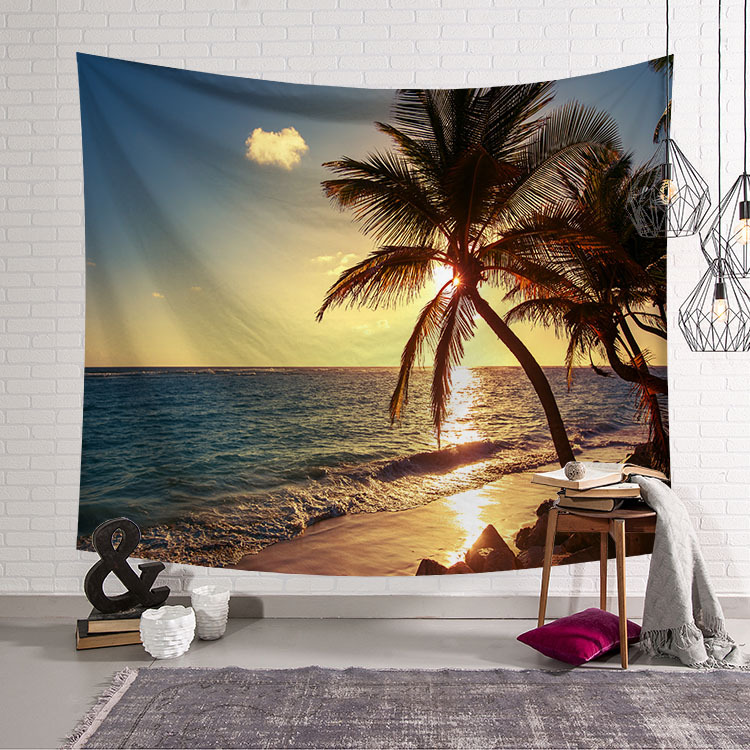 Image 3 - CAMMITEVER Blue Sky White Cloud Sea Beach Coconut Tapestry Wall Hanging Scenic Tapestries Bedspread Picnic Bedsheet Blanket-in Tapestry from Home & Garden