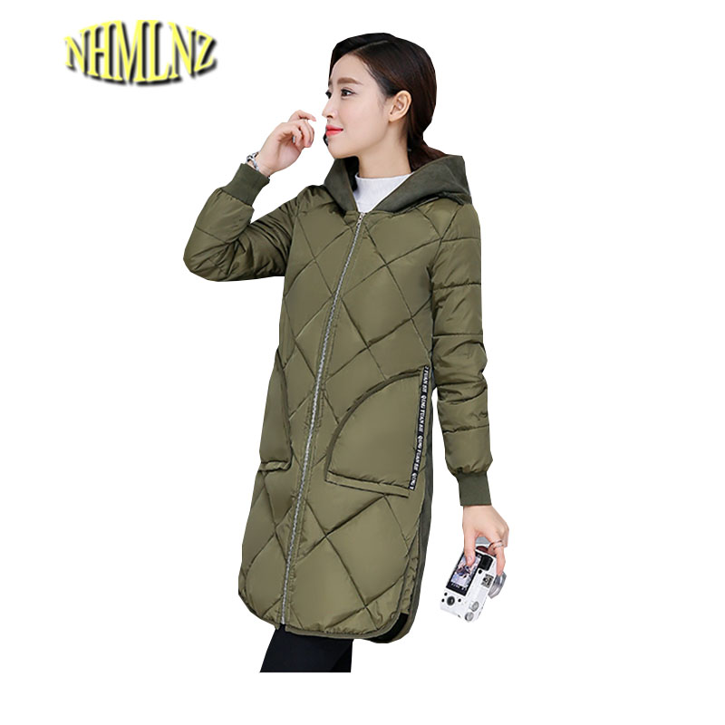 Women Winter Coat New Fashion Elegant Slim Jackets Hooded Warm Down Cotton Overcoat Medium long Large size Jacket Female ok278