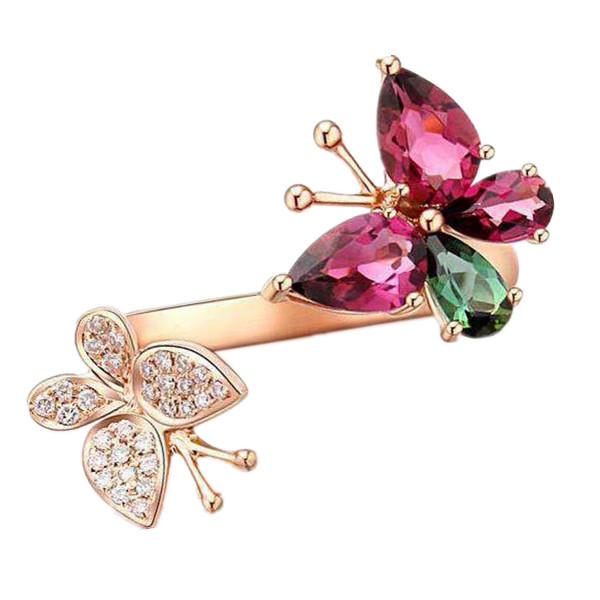 Natural Tourmaline Ring In 925 Sterling Silver Rose Gold Plated Gorgeous Butterfly Luxury Woman Lady Girl Birthstone GiftNatural Tourmaline Ring In 925 Sterling Silver Rose Gold Plated Gorgeous Butterfly Luxury Woman Lady Girl Birthstone Gift