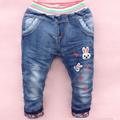 2016 Spring cartoon children jeans girls pants embroidered denim trousers Korean children jeans