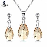 DAN'S ÉLÉMENT Autrichien Cristaux De SWAROVSKI Blanc Or Couleur collier boucles d'oreilles ensembles de bijoux pour femmes 130285