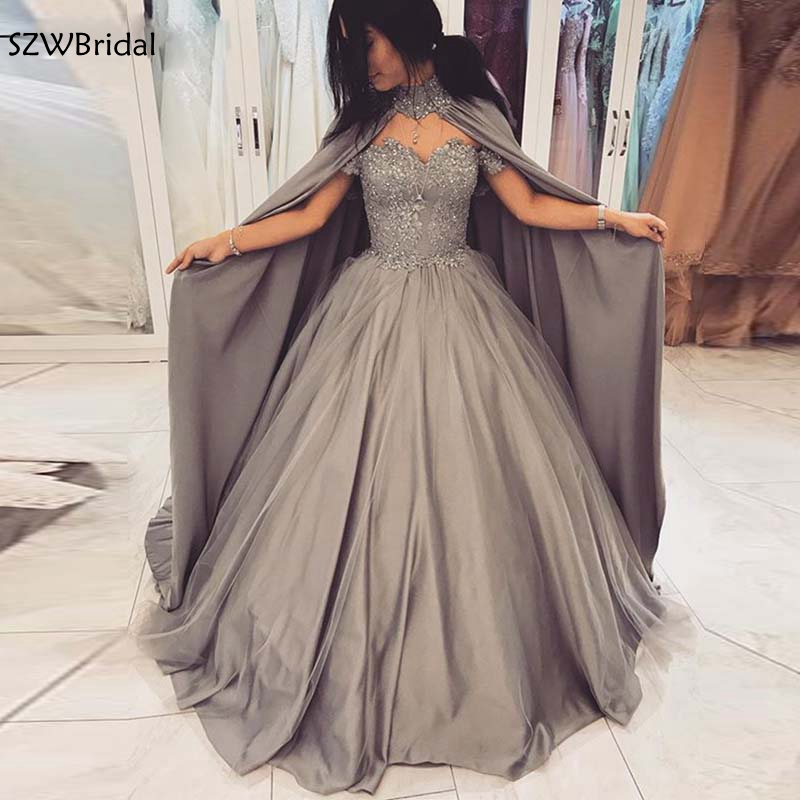 New Arrival Ball gown   evening     dresses   with Cape Lace Beading   evening   gown 2019 Dubai Arabic   evening     dress   vestidos de festa