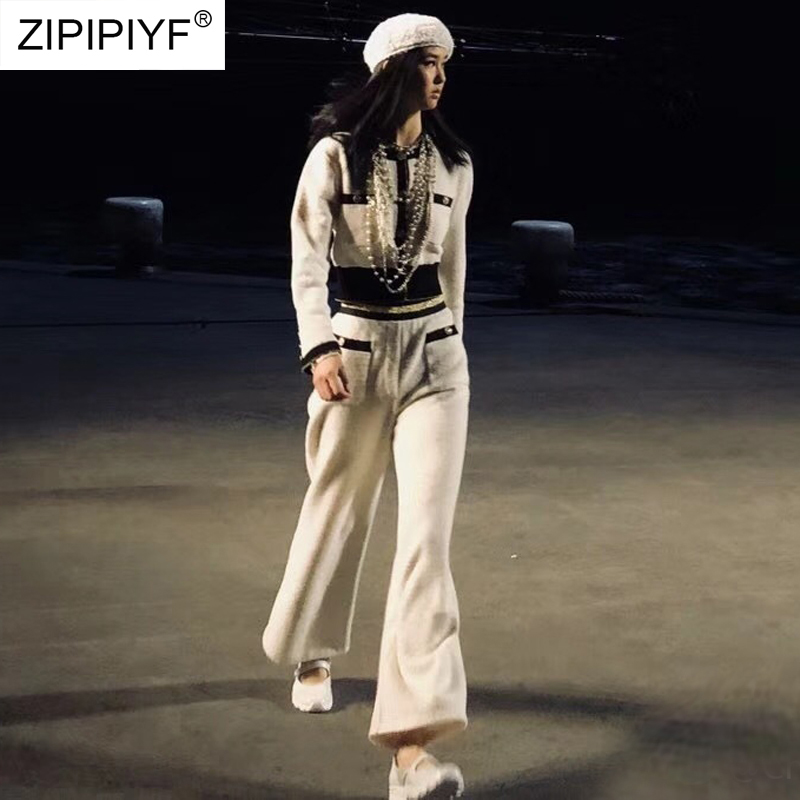 Designer Runway Pants Suit Women s Long Sleeve O Neck Blouse Casual Empire Ankle Length Trousers
