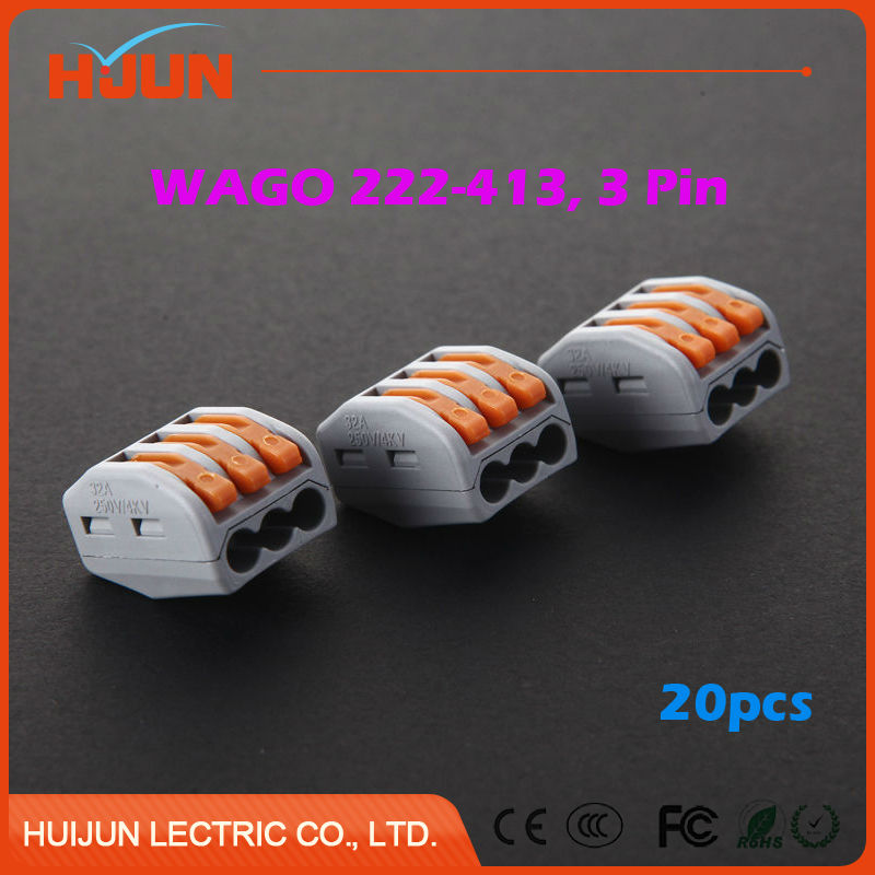 20pcs lots PCT 213 Wago 222 413 3 Pin Wire Connector Universal Junction Conductor Terminal Push