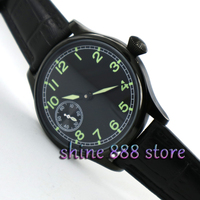 44mm parnis 6497 caso pvd mostrador preto movimento do vento mão mecânica relógio dos homens por atacado watch wholesale watch men watch men watch -