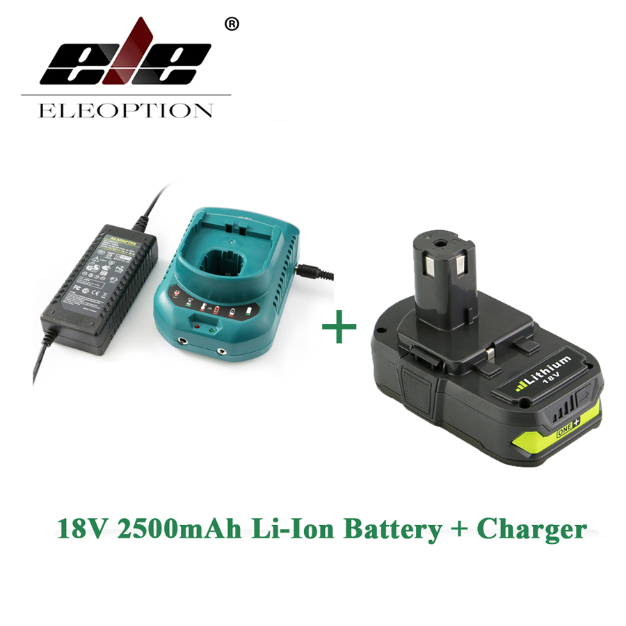 ELEOPTION Rechargeable Battery For Ryobi RB18L25 18V 2500mAh Li-Ion P103 P104 P105 P108 + Charger eleoption 2pcs 18v 3000mah li ion power tools battery for hitachi drill bcl1815 bcl1830 ebm1830 327730