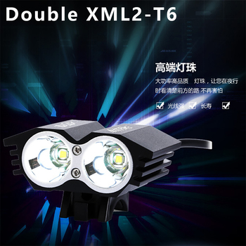 2400 Lumen Double T6 L2 Bike Bicycle Cycling LED Light Flashlight 5V 2A XML2 High Brightness Lamp Front Light & USB Interface
