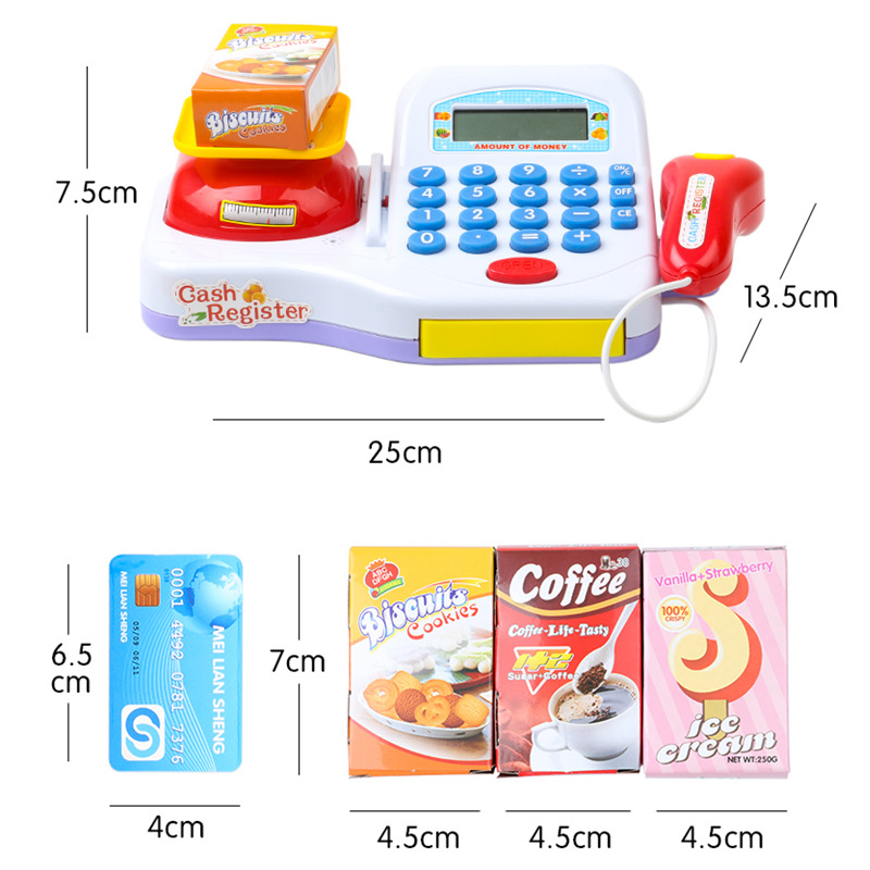 Supermarket Cash Register For Kids Simulation Cash Machine Toys With Calculator and Scanner Children Education Pretend Play Toy Multan