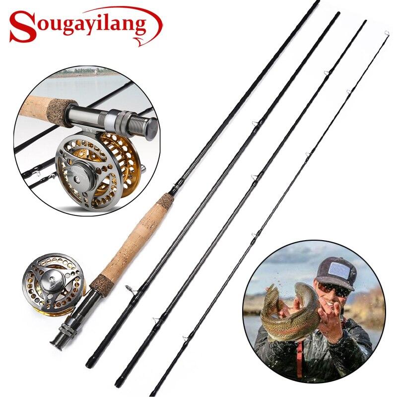 Sougayilang 2.7M moulinet à canne à pêche à la mouche Combo léger canne à mouche Portable et Kit de moulinet à mouche en alliage d'aluminium usiné à CNC