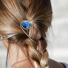 Ethnic Metal Alloy Water Drop Shaped Hair Clip Women Jewelry Glass Dome Dragon Scale Spiral Floral Pattern Hairpin Updo Barrette