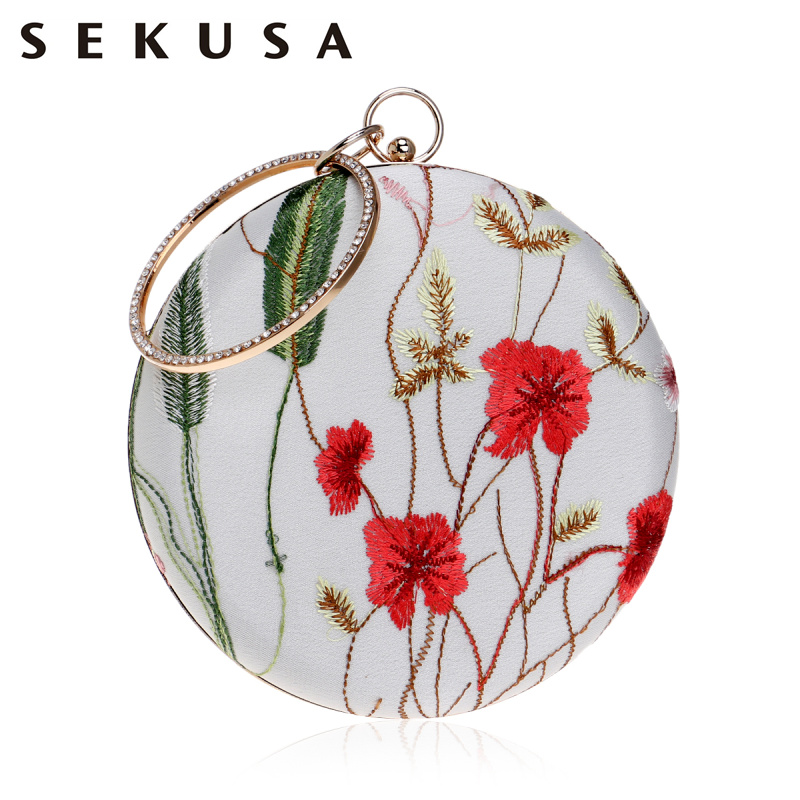 SEKUSA Lace Printed Flower Women Bag Diamonds Metal Day Clutch Embroidery Hollow Out Design Wedding Party Handbags stylish hollow out and metal design sunglasses for women