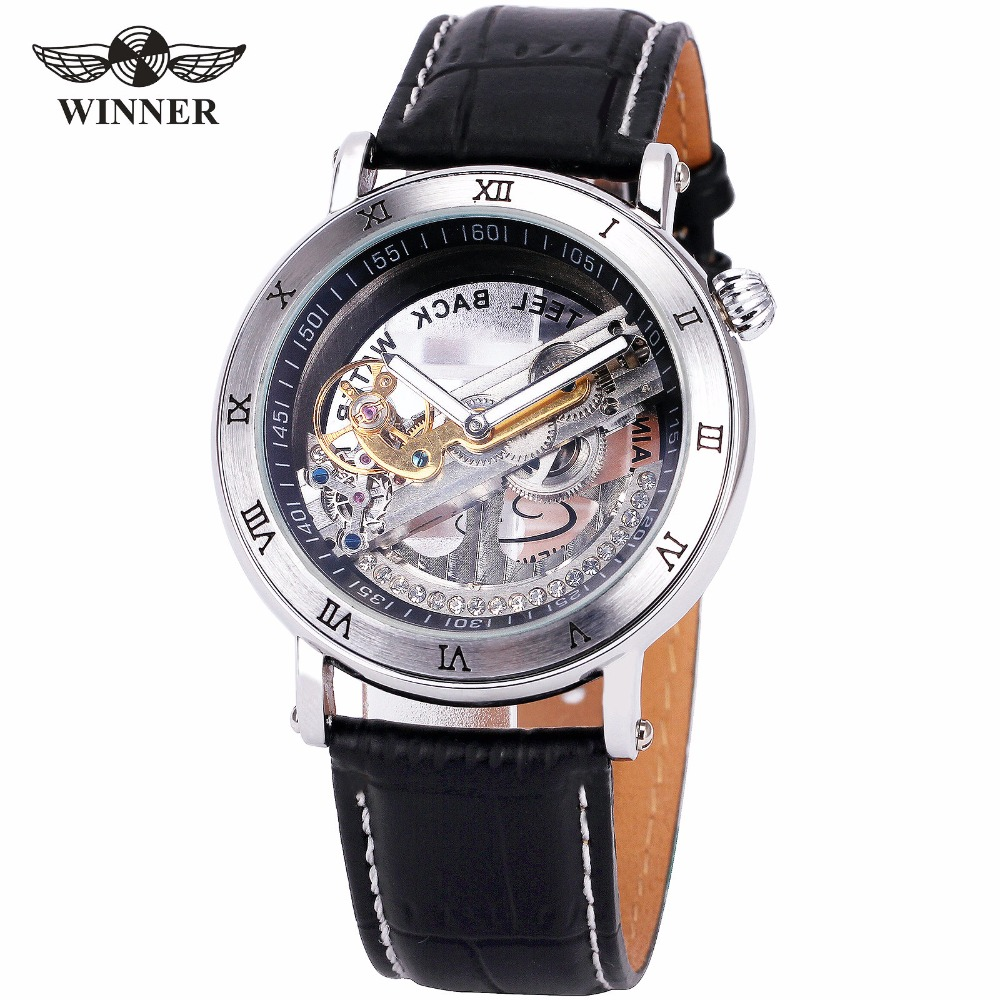 T-WINNER Golden Bridge Men Mechanical Wrist Watch Leather Strap Roman Number Silver Plating Case Top Luxury Brand Design + BOX feiwo 8090g alloys plating analog quartz wrist watch for men black golden silver