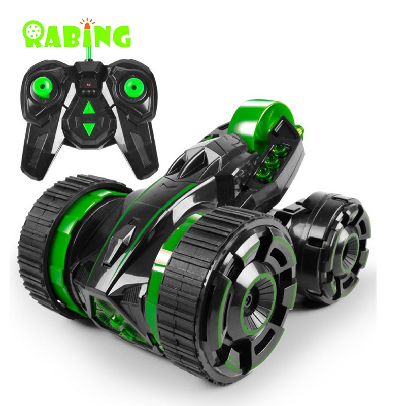 RC Car 2WD Radio-controlled Car LED Headlights Green High Speed 360 Degrees Rolling Rotating Machine On The Remote Control Cars