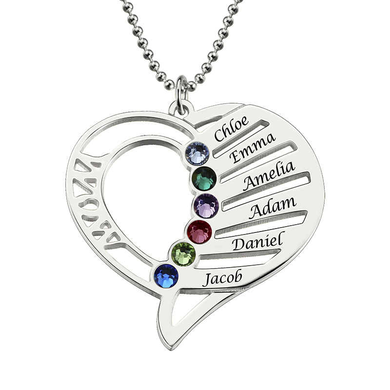AILIN Personalized Heart Birthstone Necklace Hand Stamped Heart Name Necklace Family Necklace Birthstone Jewelry Gift for Mother