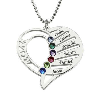 AILIN Personalized Heart Birthstone Necklace Hand Stamped Heart Name Necklace Family Necklace Birthstone Jewelry Gift for Mother - DISCOUNT ITEM  0% OFF All Category