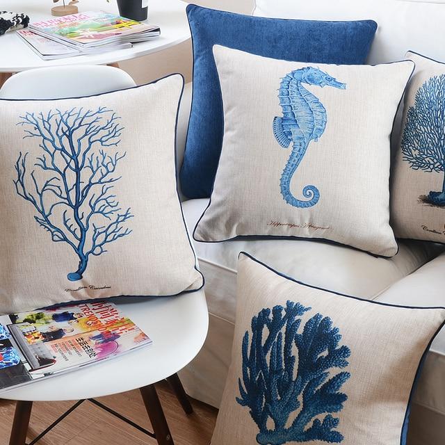 Ocean style Creative Cushion Cover Cotton Linen Velvet Plain Throw