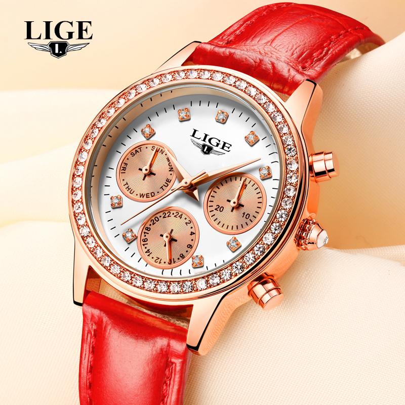 Prix pour LIGE Marque De Luxe Femmes de Mode En Cuir Décontractée Quartz Montre Dames de Diamant Robe Montres Multi-fonction Relogio Feminino 2016
