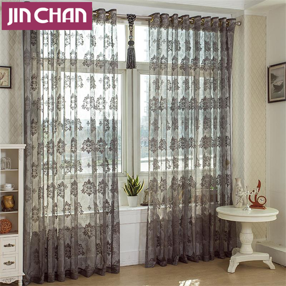 Sheer Curtains Bedroom Luxury Modern Grey Window Voile Tulle Sheer Curtains For Living