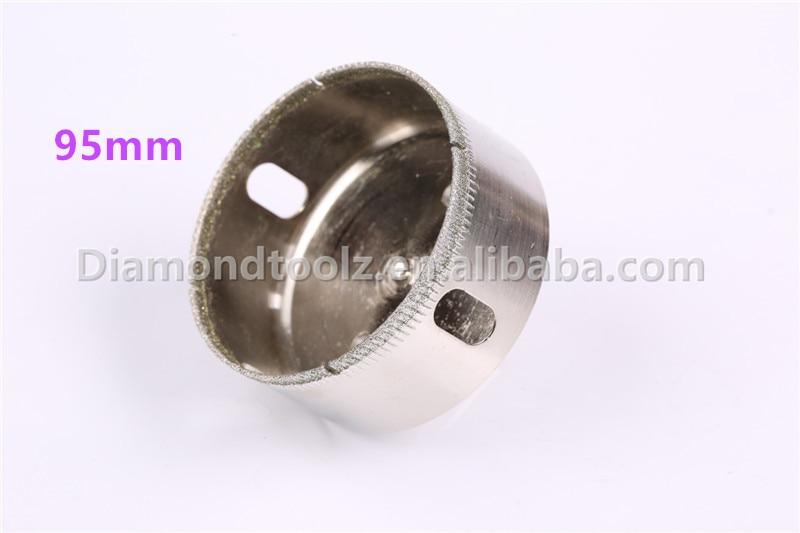 Talentool 95mm Galvanoplastia diamantada Perforación de vidrio Broca de sierra Broca de vidrio de diamante para perforación de vidrio cerámico