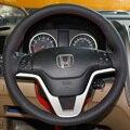 Caso para honda crv 2007-2011 tampa da roda de direcção do carro de couro genuíno diy tampa do estilo do carro acessórios de decoração