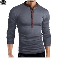 HongMiao 2018 New Fashion Men Henley Shirt Tee Tops Long Sleeve Stylish Slim Fit T Shirt