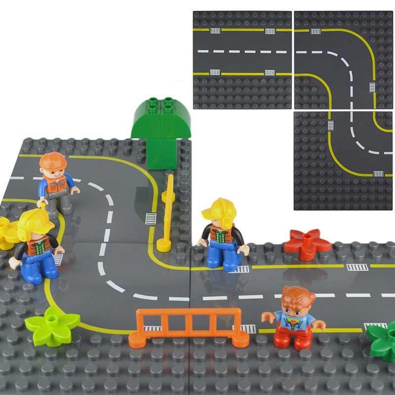 Duploe บิ๊กอิฐฐานแผ่น 19*19 ซม.ฉากการจราจรแผนที่ Baseplate อาคารบล็อกของเล่นเด็กใช้งานร่วมกับ Duplos
