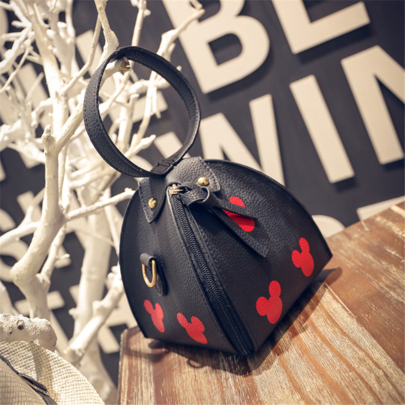 Disney New Handbags High Quality PU Leather Women Bag Mickey Head Lantern Triangle Package Sweet Girl Shoulder Mini Female Bag in Clutches from Luggage Bags