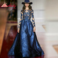 Verdadeiro amostra mangas compridas vestidos de noite 2017 azul bordados as costas abertas prom vestidos vestido de festa elegante party dress re2159