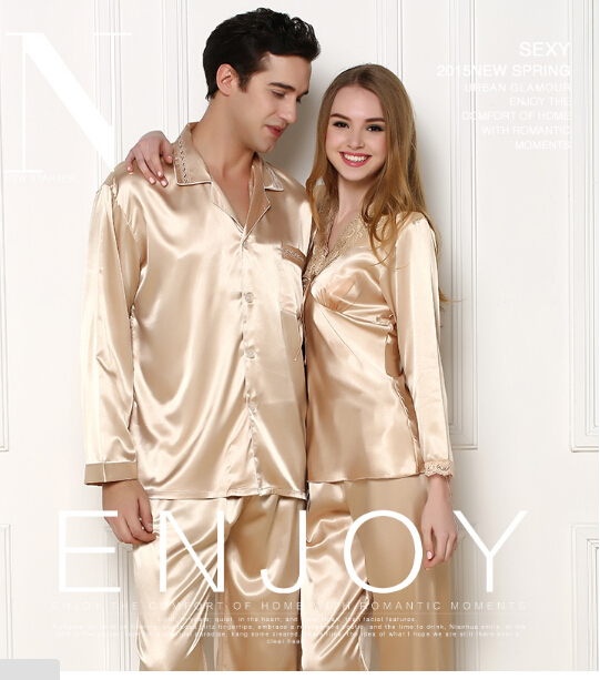 Pajama-Sets Loungewear Couple Silk Men's Casual Summer Home Luxury Lovers