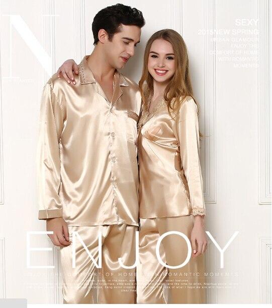 2019 Luxury Men's Summer Silk Casual Pajama Sets Couple Women's Sleepwear Pajamas Lovers Sleepwear Home Pijama Loungewear