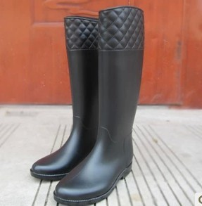 new fashion slim women knee high rain boots ladies rubber