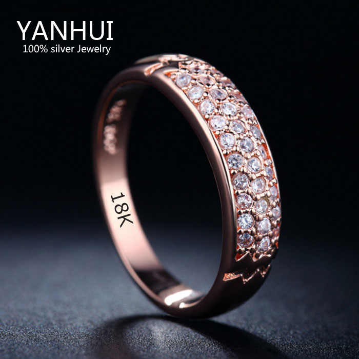 YANHUI Fine Jewelry Rings original 18KRGP Stamp Gold Filled Ring Inlay Full CZ Diamant Engagement Wedding Rings For Women JZR016
