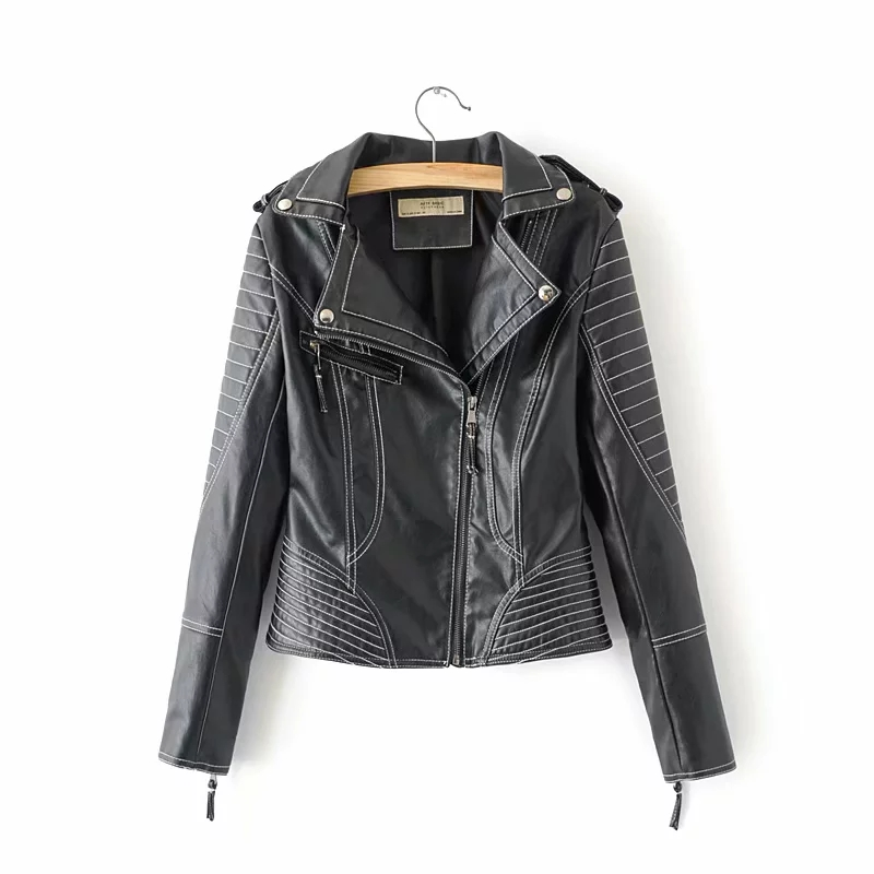 Women black PU   Leather   jackets for fashion ladies bright line moto-bikers chic BOMB coat girls street-wear cool short outerwear