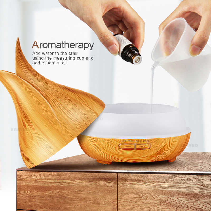 400 ml Ultrasonic Air Humidifier Aroma Diffuser น้ำมันหอมระเหยไม้ 7 สีเปลี่ยนไฟ LED สำหรับ Office Home