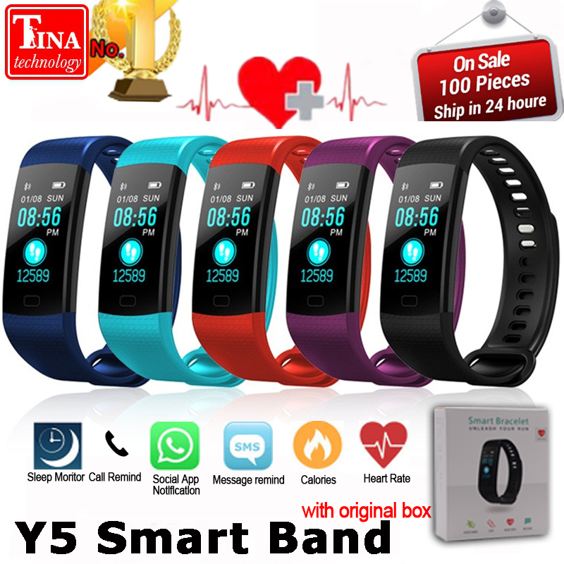Y5 Smart Band Watch Color Screen Wristband Heart Rate Activity Fitness tracker Smart Electronics Bracelet VS Xiaomi Miband 2 goral y5 smart bracelet 0 96 inch tft color screen