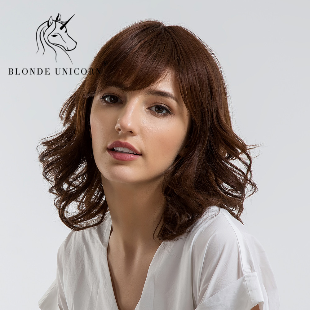 BLONDE UNICORN 14 Inch Short Bouncy Curly Hair Wig with Bangs Shoulder Length Light Brown 30% Human Hair Capless Full Women Wig