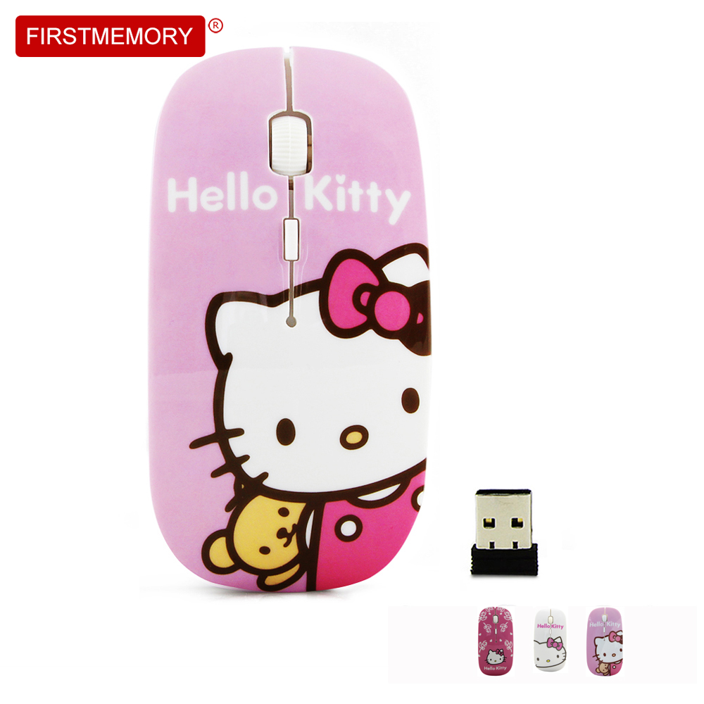 Firstmemory Wireless Hello Kitty Mouse Ergonomic 2.4Ghz 800/1200/1600DPI Adjustable Optical Ultrathin Mice Hellokitty Cat For PC