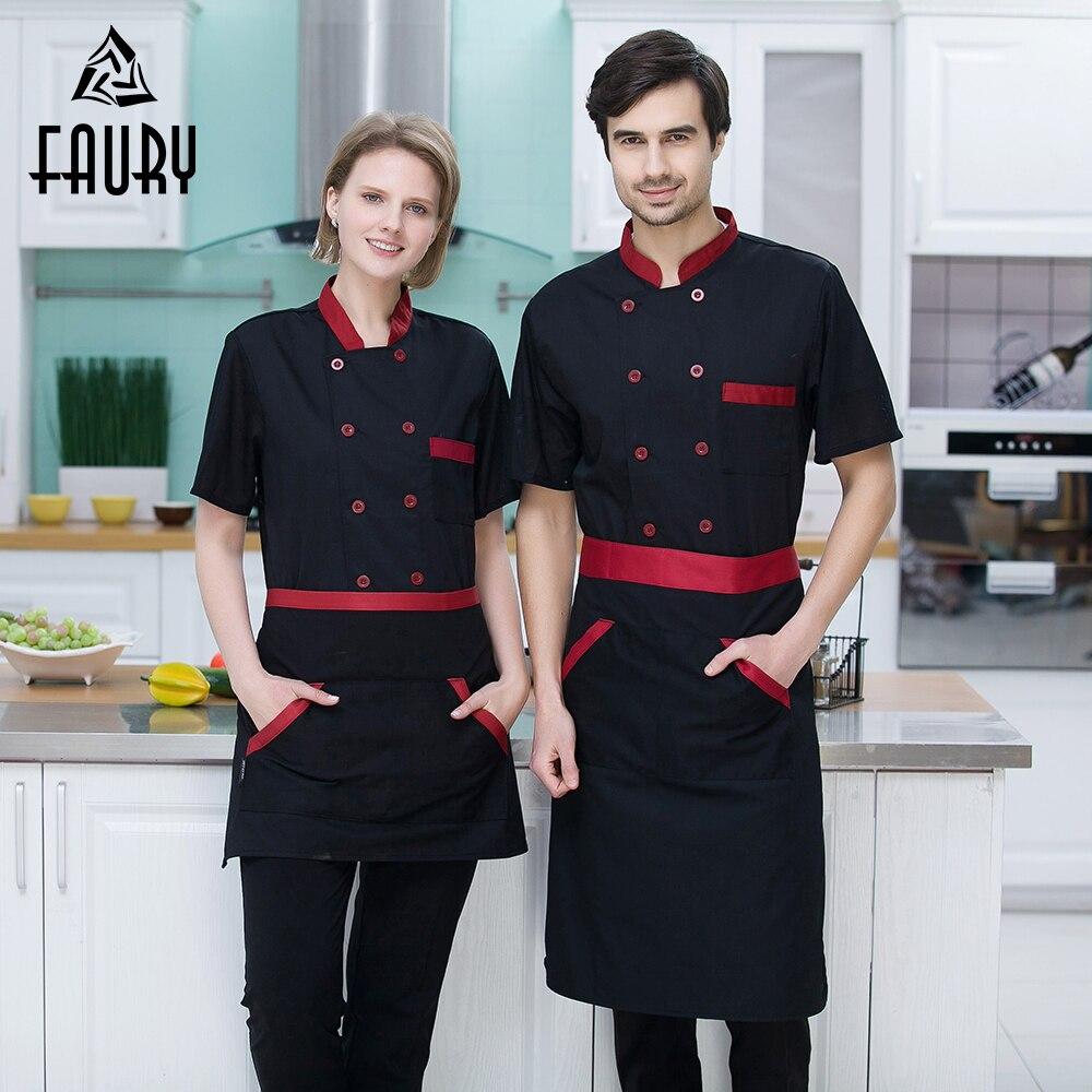 Men Women Restaurant Hotal Food Service Chef Waiter Bakery Cafe Work Uniforms Short Sleeve Mesh Patchwork Back Tops Overalls 3XL