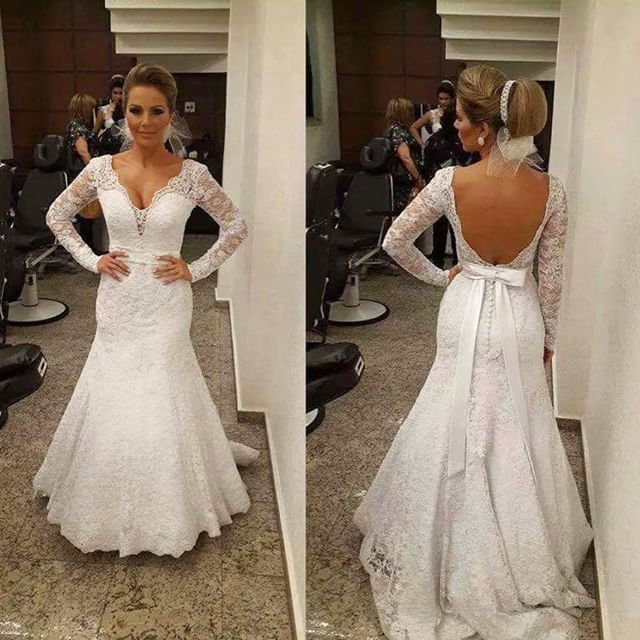 Wedding Dress 2015 V Neck Open Back Long Sleeves White Lace Mermaid Train Bow Belt Gown - Suzhou FanJieShi Co., Ltd. store