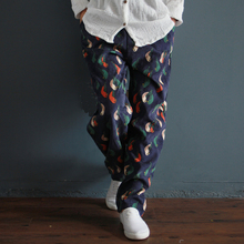 Johnature Women Trouser Print Bird Loose 2020 Spring New Warm Corduroy Casual Vintage Original Loose Cotton Linen Women Pants