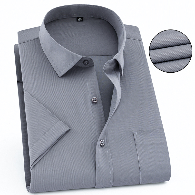 US $9.99 50% OFF|Gray Color Solid Twill Short Sleeve Formal Men Dress Shirts Hot Summer Easy Care Popular Work Men Shirts with Chest Pocket in Dress